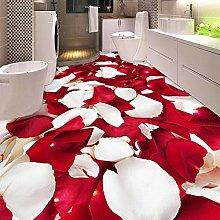 Romantic Fashion Petal 3D Floor Mural Wallpaper
