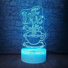 Romantic Sweet Coffee Multicolor 3D Led Lamp RGB