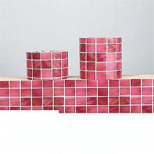 ROMDEANK Wallpaper Border Red Mosaic Self Adhesive