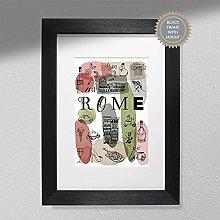 Rome Art Print - Map Wall Art   Travel Poster  