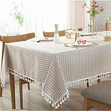 RONGER Blue Striped Decorative Cloth Linen Cotton