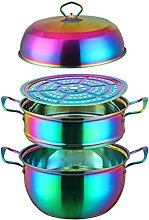 RongWang 1 Pcs Steamer Pot Stainless Steel Three