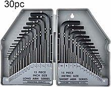 rongweiwang 30 PCS 0.7-10mm Hex Key Wrench