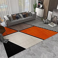 Room Rug Bedside Rugs Orange black geometric