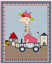 Room Seven - Giraffe Boy Quilt - Pink/Blue/Black