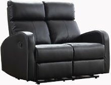Roomee - Boston Black Leather 2 Seater Recliner