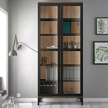 Roomers Display Cabinet Glazed 2 Doors in Black