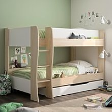 Roomy Oak and White Wooden Bunk Bed With Storage
