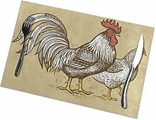 Rooster Chicken Placemats Set of 4 Washable Heat