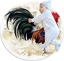 Rooster Chicken, Printed Round Rug for Kids Family