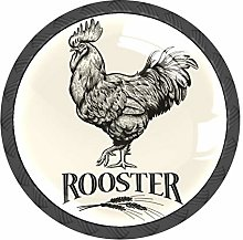 Rooster Cock Vintage Knobs and Pull Handle for