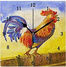 Rooster in Yellow Sunrise Wall Clock, Silent Non
