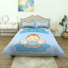 Rorun Duvet Cover,Baby with Wings On Cloud Boy