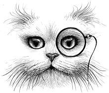 Rory Dobner Cat Monocle Unframed Print, A3,