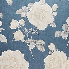 Rosa Floral Motif Luxury Wallpaper Belgravia Navy