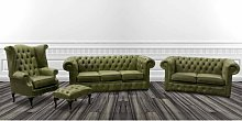Rosabel Chesterfield 4 Piece Leather Sofa Set