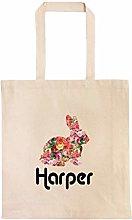 Rose Bunny Personalized Egg Hunt Bag Custom Easter