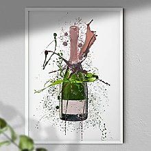 Rose Champagne Bottle - Wall Art Print - A3 Print
