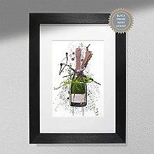 Rose Champagne Bottle - Wall Art Print - A5 Print