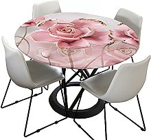 Rose Elastic Edged Round Tablecloth for Circular