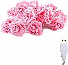 Rose Flower Light 2M 10 Lights LED USB Rose String