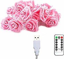 Rose Flower Light 6M 40 Lights LED USB 8 Modes