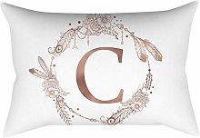 Rose gold alphabet letter polyester pillowcase C