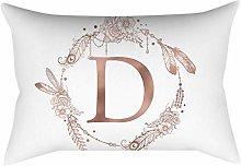 Rose gold alphabet letter polyester pillowcase D