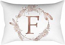 Rose gold alphabet letter polyester pillowcase F