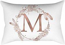 Rose gold alphabet letter polyester pillowcase M