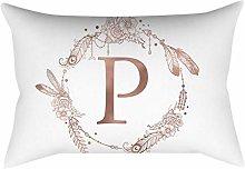 Rose gold alphabet letter polyester pillowcase P
