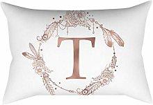 Rose gold alphabet letter polyester pillowcase T