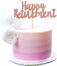 Rose Gold Glitter Happy Retirement Cake Topper
