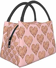 Rose Gold Hearts Pizza and Sandwich Lunch Bag