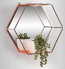 Rose Gold Hexagon Mirrored Floating Shelf