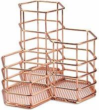 Rose Gold Hexagonal Desk Tidy | Mesh Triple Holder