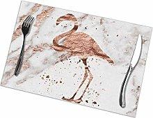 Rose Gold Marble Flamingo Placemat Design,Heat
