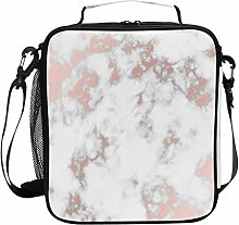 Rose Gold Marble Stone Insulated Lunch Bag,