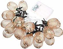 Rose Gold Metal Pineapple Lantern String Lights
