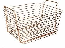 Rose Gold Metal Storage Basket   M&W Large - rose