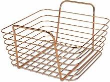 Rose Gold Metal Storage Basket   M&W Small - Rose