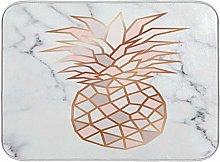 Rose Gold Pineapple White Marble Dish Drying Mat