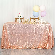 Rose Gold Sequin Tablecloth 60x102-Inch Sequin
