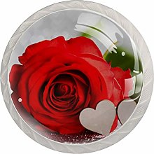 Rose Red Flowers 4 Pieces Crystal Glass Wardrobe