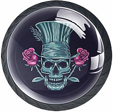 Rose Skull Solid Kitchen Cabinet Knobs Round