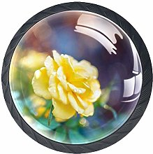 Rose Yellow Flower 4 Pieces Crystal Glass Wardrobe