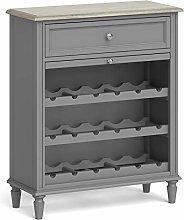 Roseland Furniture Grey Wooden Wine Rack Drinks