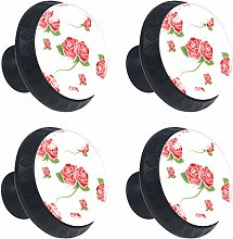 Roses 4PCS Round Drawer Knob Pull Handle Cupboard