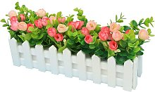 Roses Artificial Plants with Fence Fake Artificial