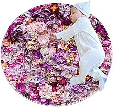 Roses, Printed Round Rug for Kids Family Bedroom